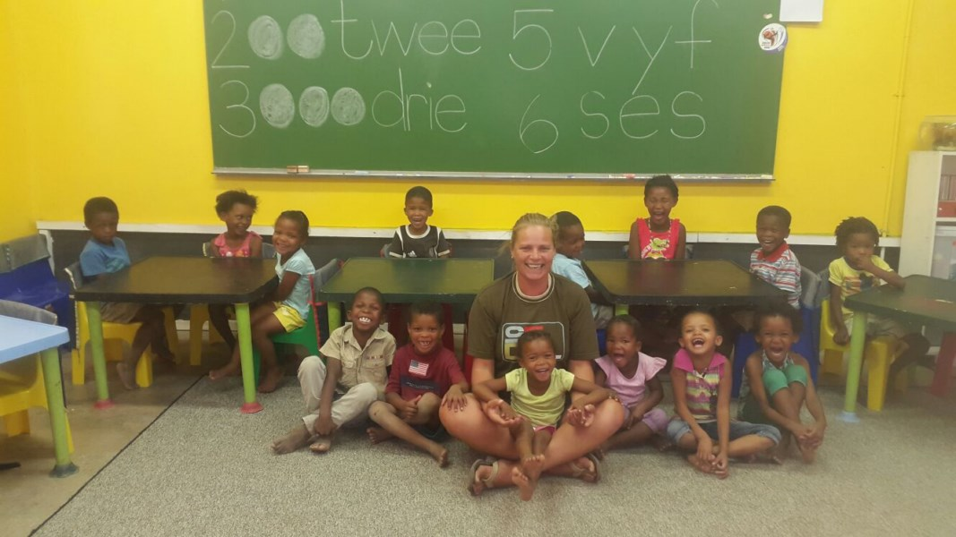 Teacher Antje with some of the kids in the classroom